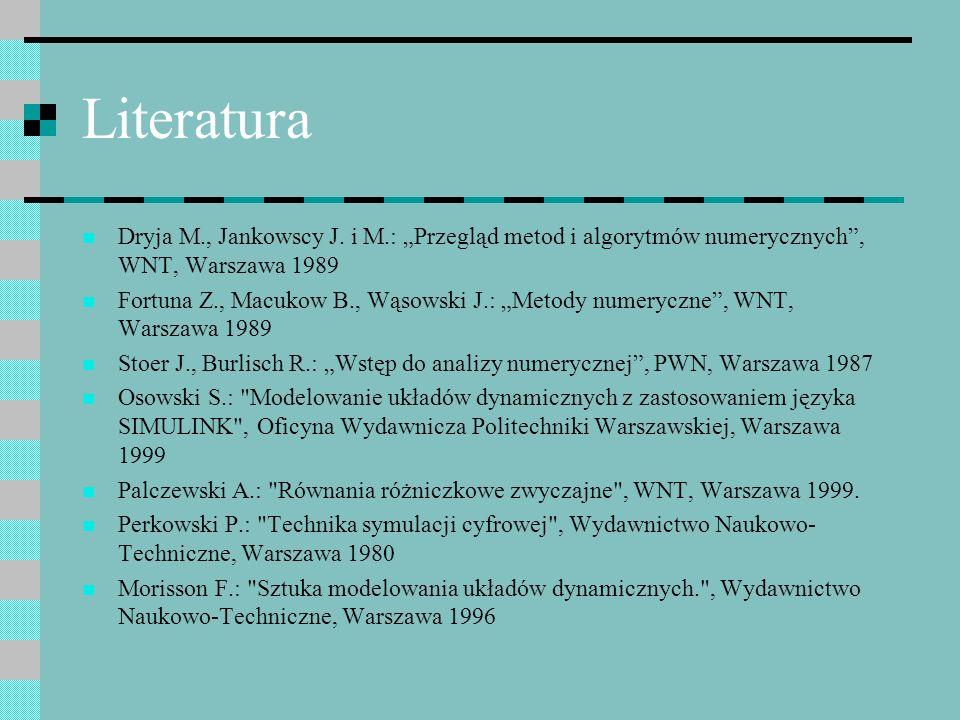 Literatura Dryja M., Jankowscy J. i M.: Przegląd metod i algorytmów numerycznych, WNT, Warszawa 1989 Fortuna Z., Macukow B., Wąsowski J.: Metody numer