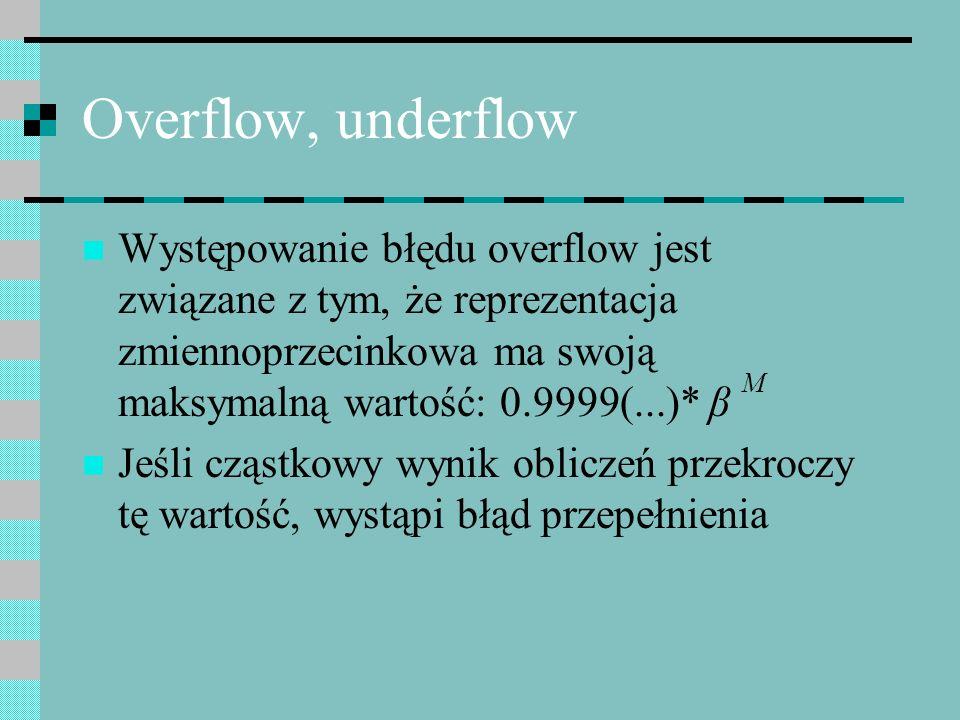 Overflow, underflow Występowanie błędu overflow jest związane z tym, że reprezentacja zmiennoprzecinkowa ma swoją maksymalną wartość: 0.9999(...)* β M