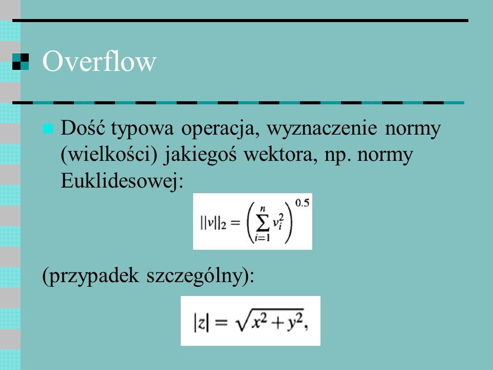Overflow Dość typowa operacja, wyznaczenie normy (wielkości) jakiegoś wektora, np. normy Euklidesowej: (przypadek szczególny):