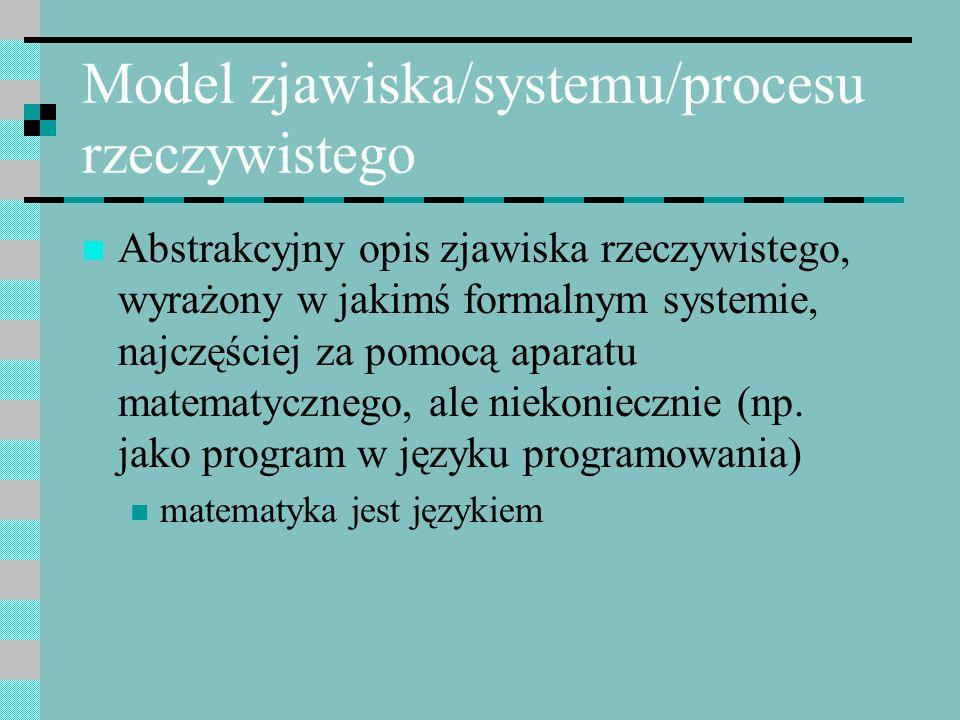 Model zjawiska/systemu/procesu rzeczywistego Abstrakcyjny opis zjawiska rzeczywistego, wyrażony w jakimś formalnym systemie, najczęściej za pomocą apa