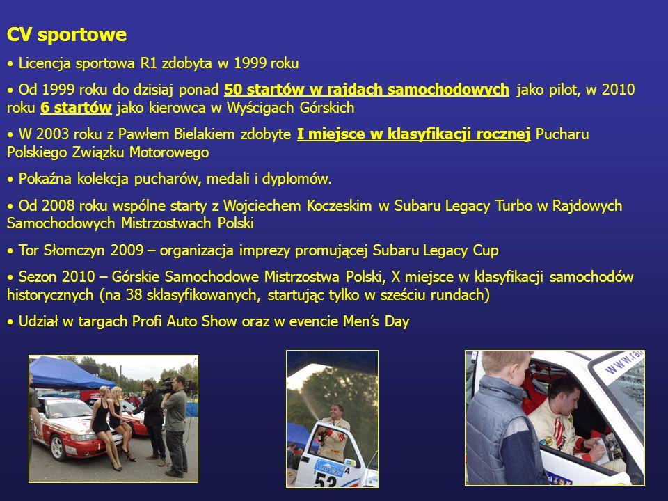 CV sportowe Licencja sportowa R1 zdobyta w 1999 roku Od 1999 roku do dzisiaj ponad 50 startów w rajdach samochodowych jako pilot, w 2010 roku 6 startó