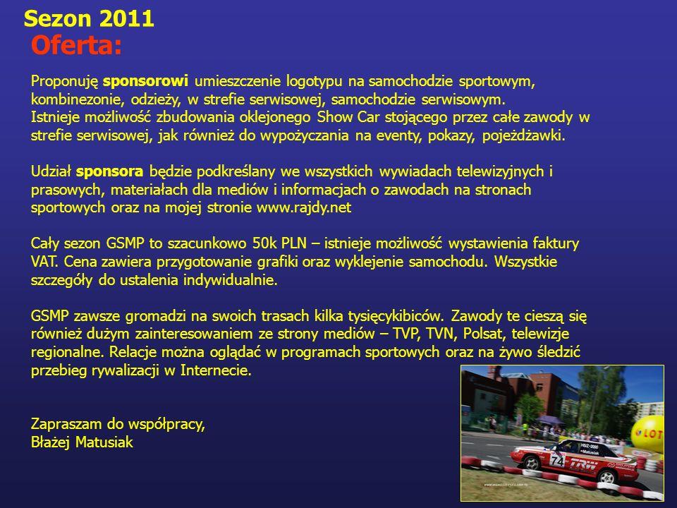 Sezon 2011 Oferta: Proponuję sponsorowi umieszczenie logotypu na samochodzie sportowym, kombinezonie, odzieży, w strefie serwisowej, samochodzie serwi