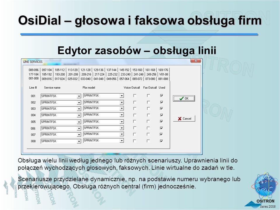 Sales 2008 Obsługa wielu linii według jednego lub różnych scenariuszy. Uprawnienia linii do połączeń wychodzących głosowych, faksowych. Linie wirtualn