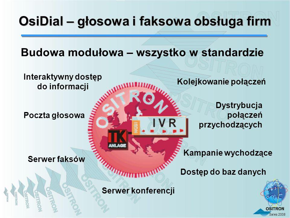 Sales 2008 Kolejkowanie połączeń Interaktywny dostęp do informacji Poczta głosowa Serwer faksów OsiDial – głosowa i faksowa obsługa firm Dystrybucja p