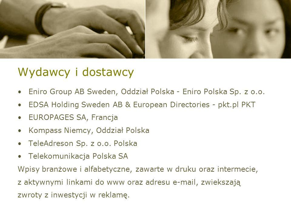 Wydawcy i dostawcy Eniro Group AB Sweden, Oddział Polska - Eniro Polska Sp.