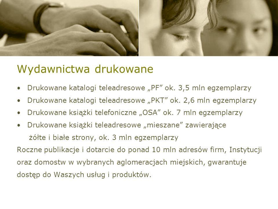 Wydawnictwa drukowane Drukowane katalogi teleadresowe PF ok.