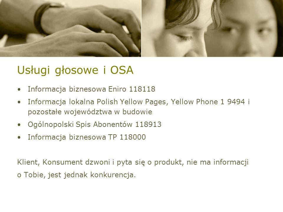 Usługi głosowe i OSA Informacja biznesowa Eniro 118118 Informacja lokalna Polish Yellow Pages, Yellow Phone 1 9494 i pozostałe województwa w budowie Ogólnopolski Spis Abonentów 118913 Informacja biznesowa TP 118000 Klient, Konsument dzwoni i pyta się o produkt, nie ma informacji o Tobie, jest jednak konkurencja.