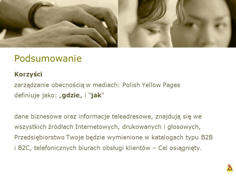 Podsumowanie Korzyści zarządzanie obecnością w mediach: Polish Yellow Pages definiuje jako: gdzie i