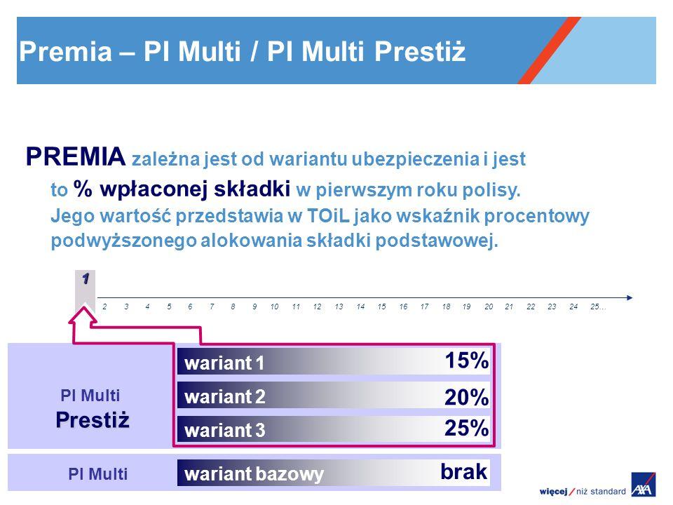 Prestiż PI Multi Prestiż PI Multi 12345678910111213141516171819202122232425… PREMIA zależna jest od wariantu ubezpieczenia i jest to % wpłaconej skład