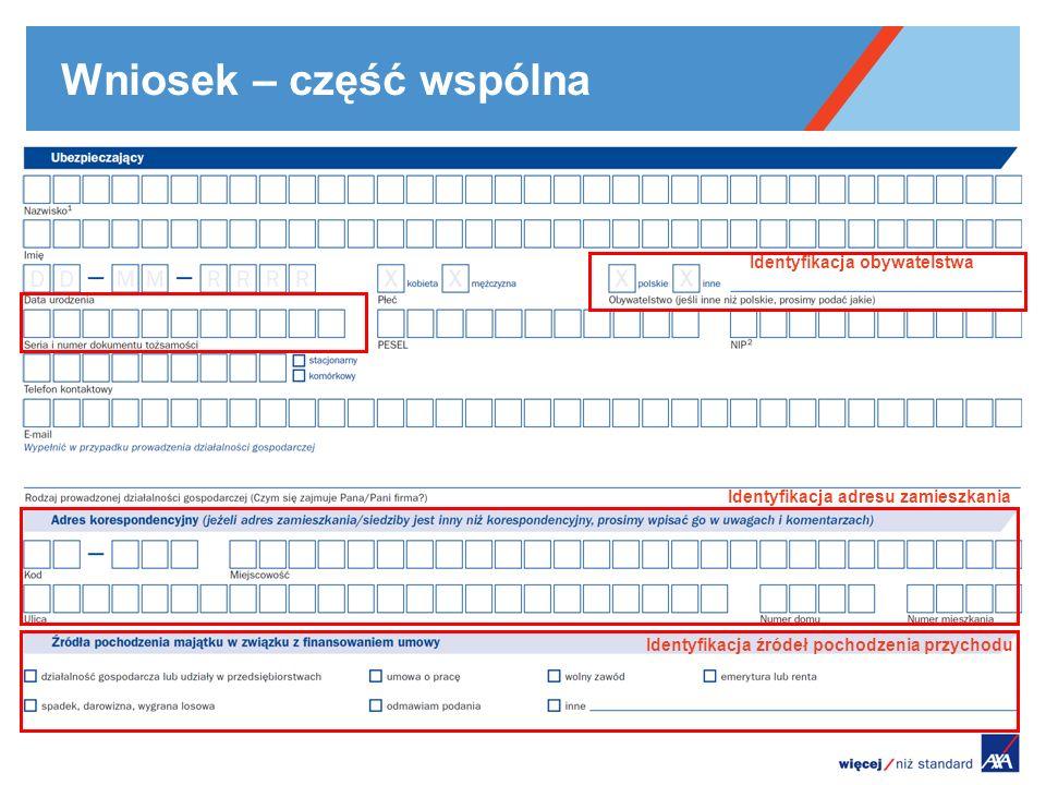 Wniosek – część wspólna Identyfikacja źródeł pochodzenia przychodu Identyfikacja adresu zamieszkania Identyfikacja obywatelstwa