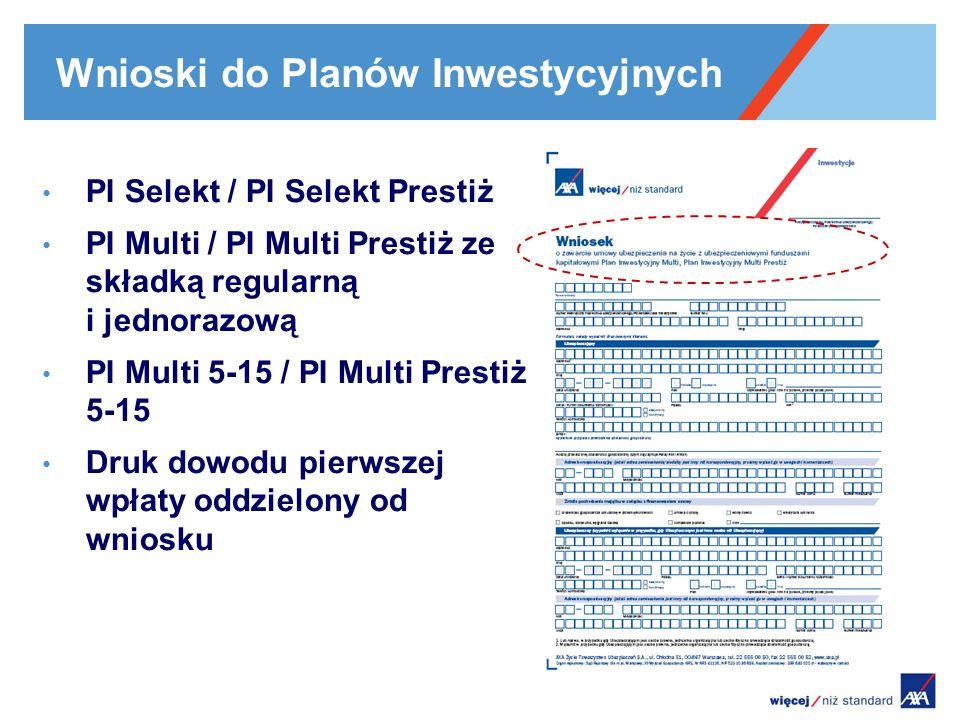 Wnioski do Planów Inwestycyjnych PI Selekt / PI Selekt Prestiż PI Multi / PI Multi Prestiż ze składką regularną i jednorazową PI Multi 5-15 / PI Multi
