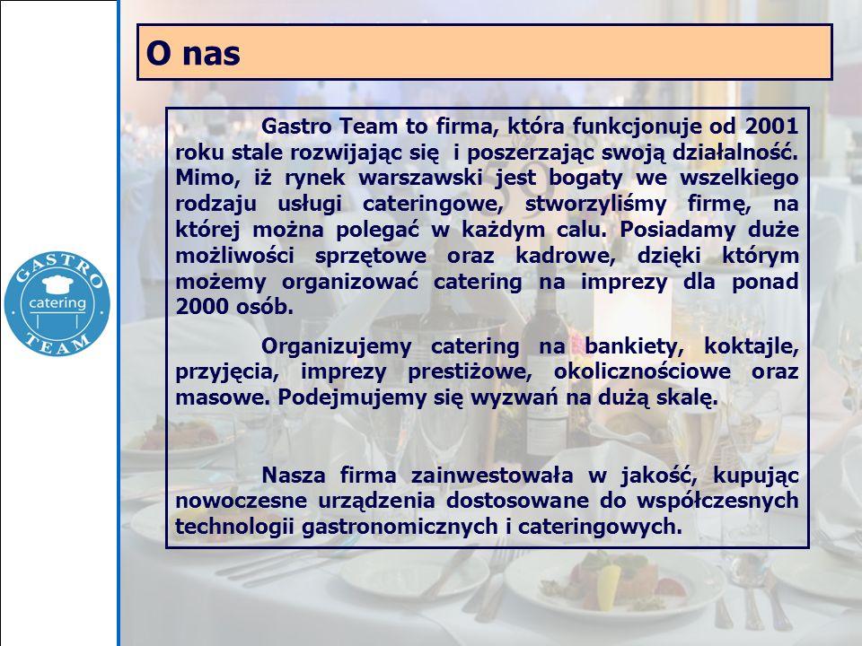 O nas Gastro Team to firma, która funkcjonuje od 2001 roku stale rozwijając się i poszerzając swoją działalność. Mimo, iż rynek warszawski jest bogaty