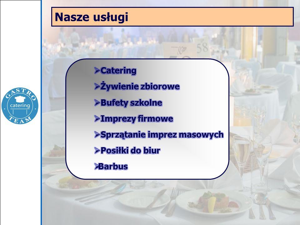 Catering - na każdą kieszeń Firma Gastro Team specjalizuje się przede wszystkim w organizacji cateringu wszelkiego rodzaju spotkań firmowych: konferencje sympozja koktajle imprezy okolicznościowe bankiety