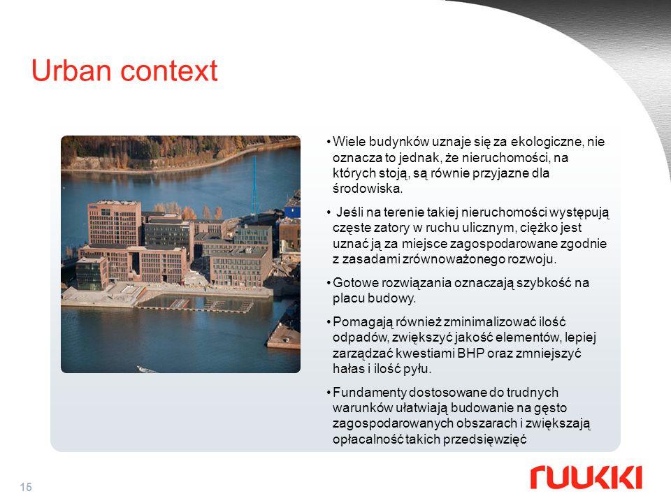 15 Urban context Wiele budynków uznaje się za ekologiczne, nie oznacza to jednak, że nieruchomości, na których stoją, są równie przyjazne dla środowis