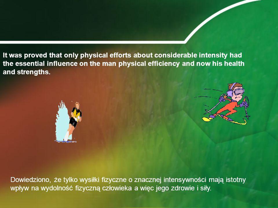 Dowiedziono, że tylko wysiłki fizyczne o znacznej intensywności mają istotny wpływ na wydolność fizyczną człowieka a więc jego zdrowie i siły.