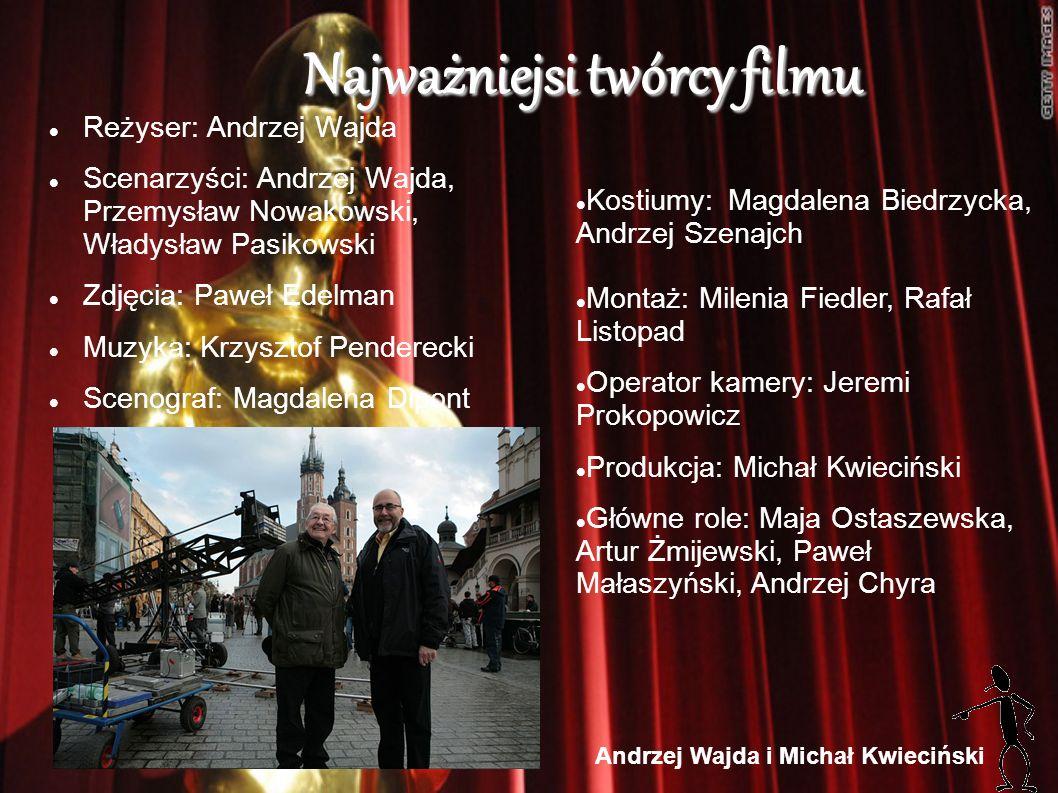 Najważniejsi twórcy filmu Reżyser: Andrzej Wajda Scenarzyści: Andrzej Wajda, Przemysław Nowakowski, Władysław Pasikowski Zdjęcia: Paweł Edelman Muzyka