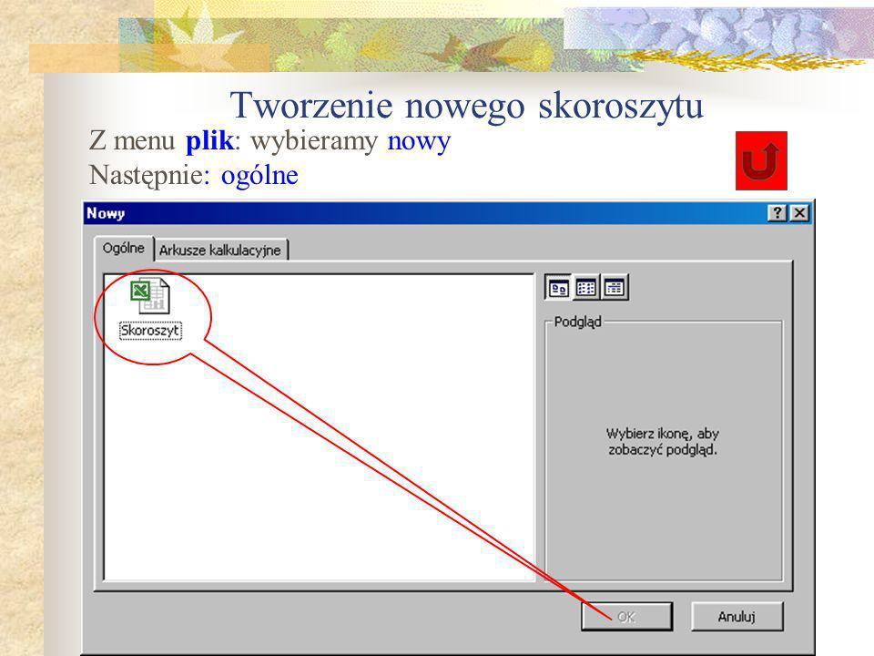 Tworzenie nowego skoroszytu, Otwieranie, zapisywanie plików Excela Pliki Excela mają rozszerzenia:.xls Pliki szablonów Excela:.xlt Dalej