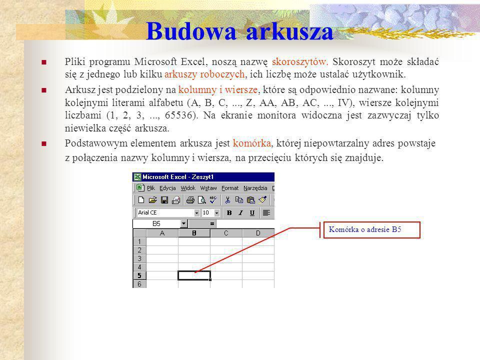 Charakterystyczne elementy ekranu programu EXCEL Aktywna komórka A1 – pole zawierające dane, formuły lub tekst Pole: Adres aktualnie zaznaczonej komór