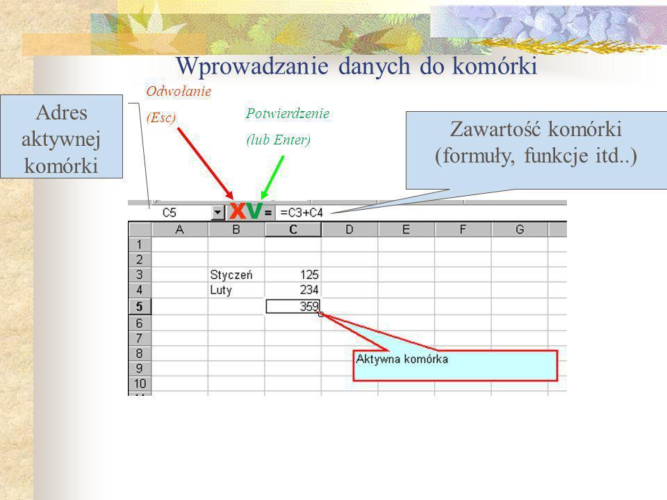 Wprowadzanie danych Przycisk Wpis Przycisk Anuluj Excel rozróżnia trzy typy danych: Etykiety – tak określa się wpisywany tekst: tytuł, nagłówki kolumn