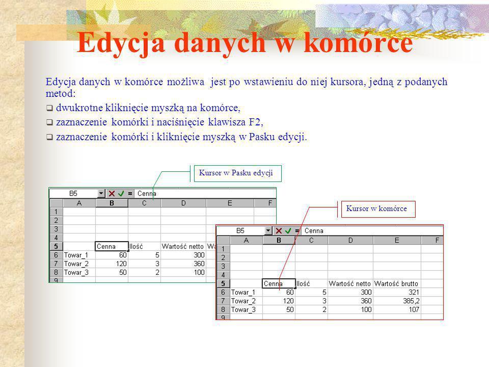 Wprowadzanie danych do komórki z wykorzystaniem menu podręcznego 1. Wpisujemy w komórce znak = Rozwinięte menu Przycisk rozwijający