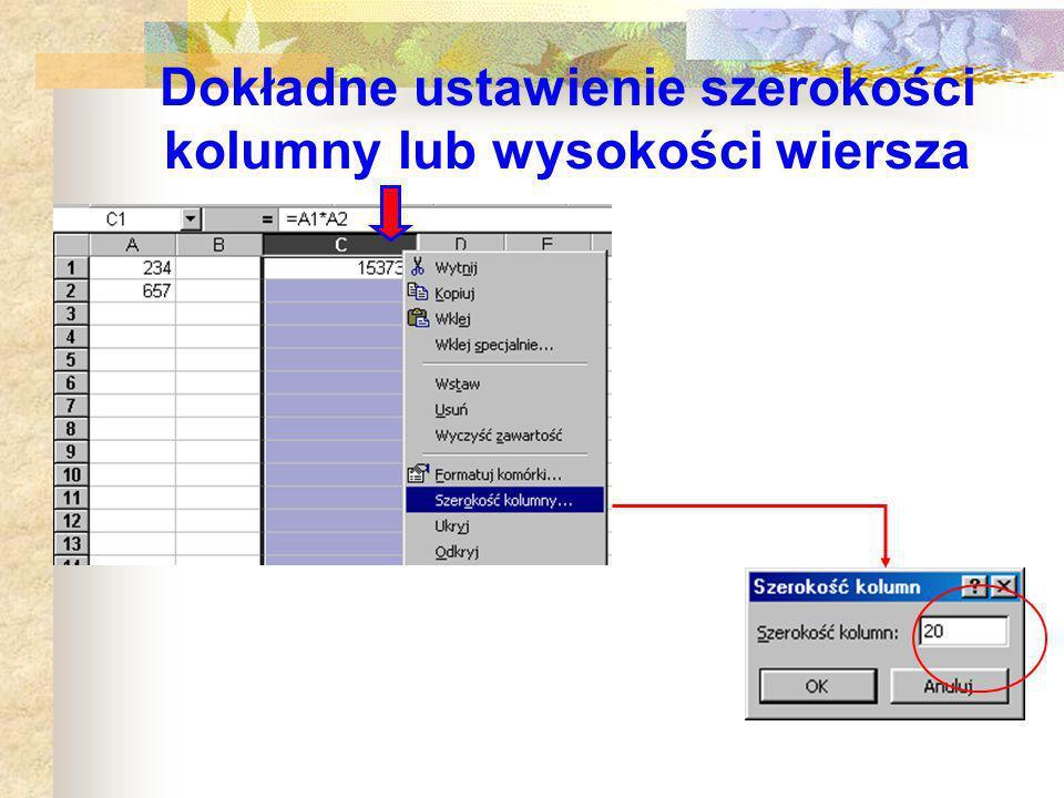 Wskaźniki myszy cd.... do zmiany szerokości kolumny, wiersza (lub kilku zaznaczonych)