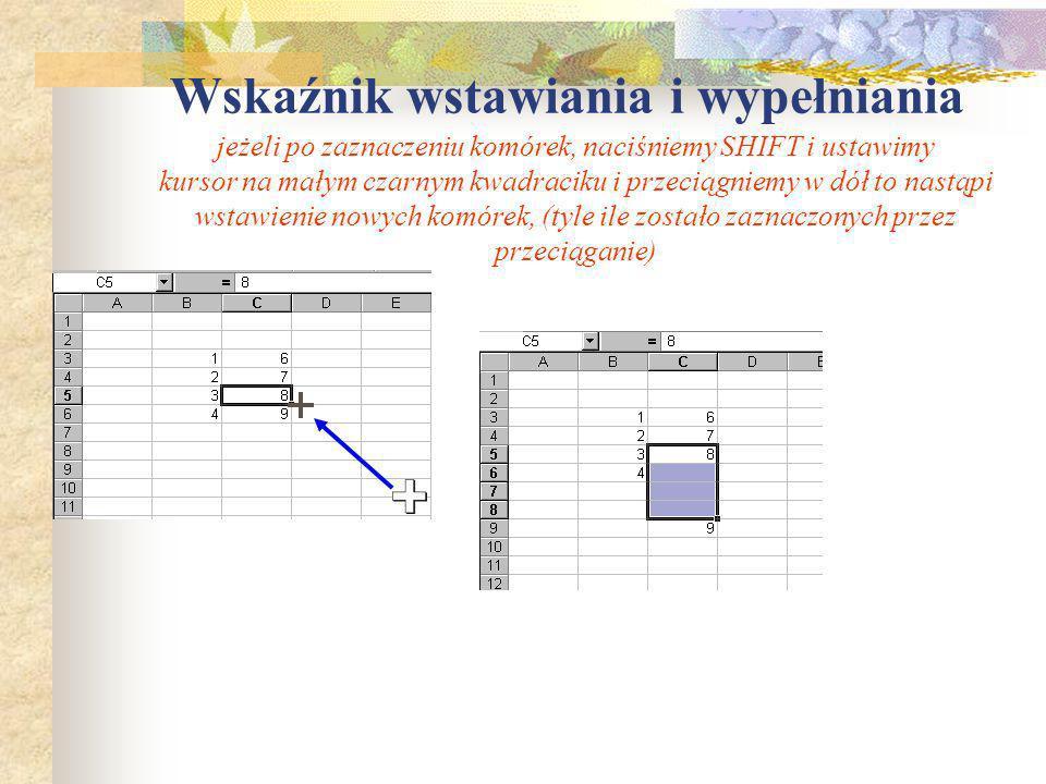 Wstawianie nowych wierszy, kolumn, arkuszy cd. Wykorzystując menu podręczne (prawy klawisz myszy): Wstawiony nowy wiersz Jeżeli umieścimy kursor w nag