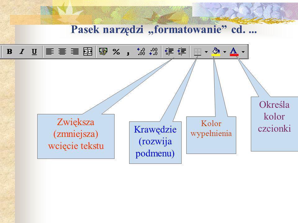 Pasek narzędzi formatowanie Styl i rozmiar czcionki Krój czcionki: pogrubienie, kursywa, podkreślenie Wyrównywanie w obszarze komórki (lub zaznaczonyc