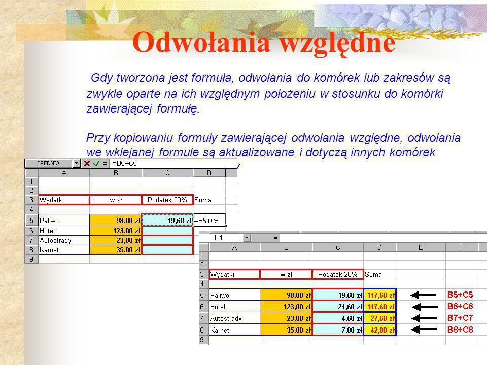 Kopiowanie wzorów Obliczenia przebiegające według takiego samego schematu nie wymagają konstruowania nowych wzorów, Excel umożliwia ich kopiowanie. Ks