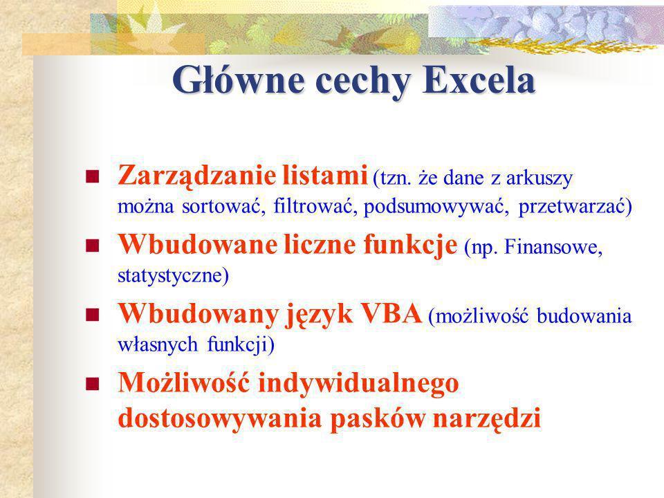 Wstawianie nowych wierszy, kolumn, arkuszy Mamy kilka technik wstawiania nowych wierszy, kolumn: 1)Z menu górnego wstaw: Kolumny wstawiane są po lewej stronie, a wiersze powyżej wiersza,w którym znajduje się kursor