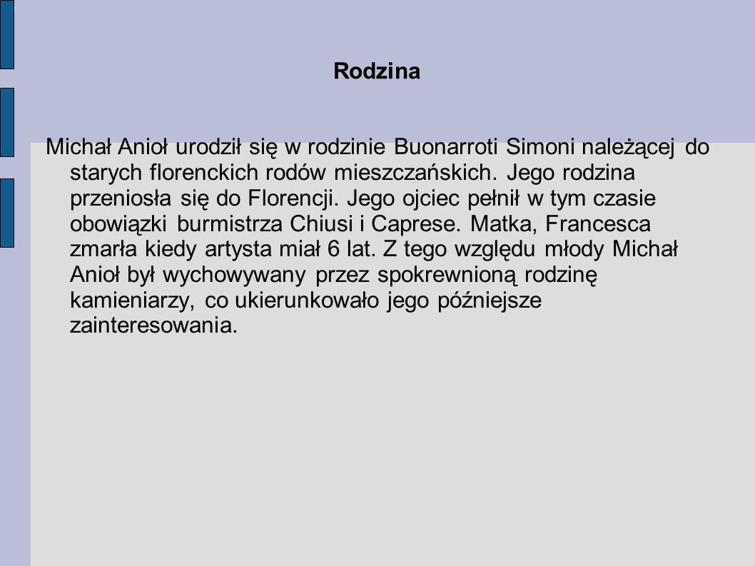 Michał Anioł urodził się w rodzinie Buonarroti Simoni należącej do starych florenckich rodów mieszczańskich. Jego rodzina przeniosła się do Florencji.