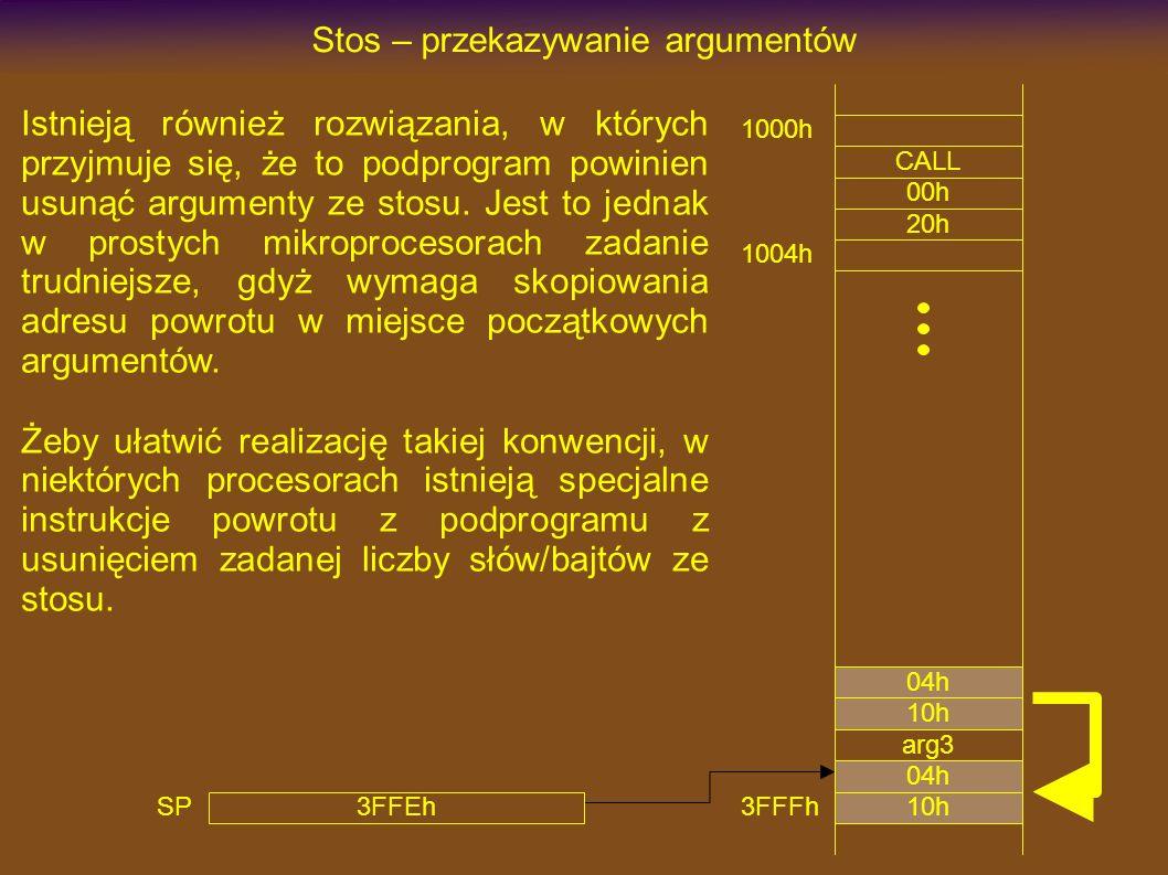1000h CALL Stos – przekazywanie argumentów 00h 20h 3FFEh SP 1004h arg3 Istnieją również rozwiązania, w których przyjmuje się, że to podprogram powinien usunąć argumenty ze stosu.
