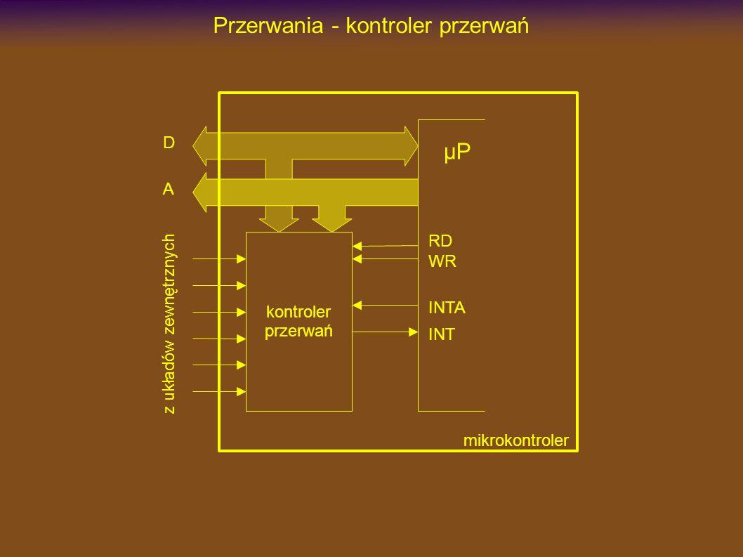 Przerwania - kontroler przerwań INT µP kontroler przerwań INTA RD WR D A z układów zewnętrznych mikrokontroler