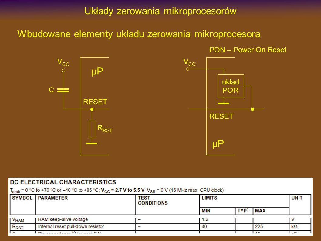 Układy zerowania mikroprocesorów Wbudowane elementy układu zerowania mikroprocesora RESET µP V CC C R RST RESET µP V CC układ POR PON – Power On Reset