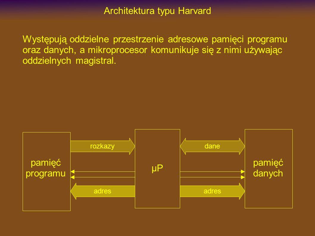 Architektura typu Harvard Występują oddzielne przestrzenie adresowe pamięci programu oraz danych, a mikroprocesor komunikuje się z nimi używając oddzielnych magistral.