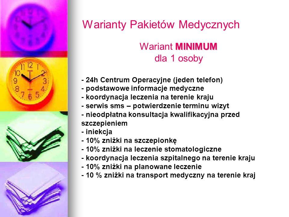 Warianty Pakietów Medycznych MINIMUM Wariant MINIMUM dla 1 osoby - 24h Centrum Operacyjne (jeden telefon) - podstawowe informacje medyczne - koordynac
