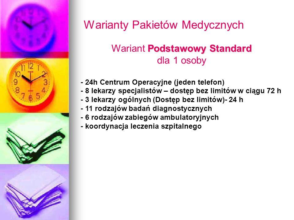 Warianty Pakietów Medycznych Podstawowy Standard Wariant Podstawowy Standard dla 1 osoby - 24h Centrum Operacyjne (jeden telefon) - 8 lekarzy specjali