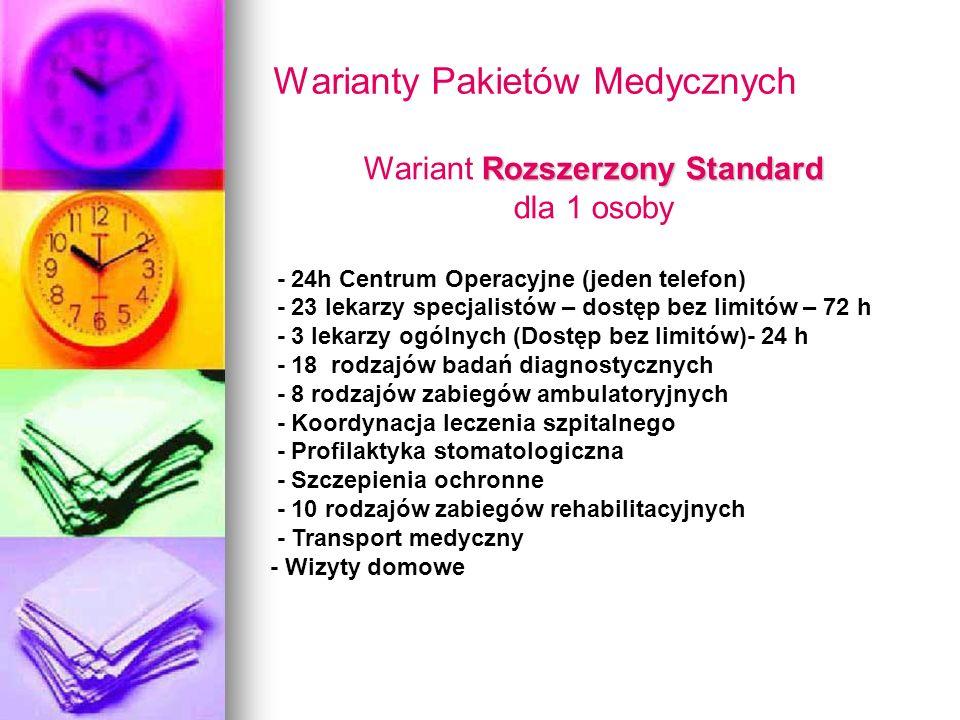 Warianty Pakietów Medycznych Rozszerzony Standard Wariant Rozszerzony Standard dla 1 osoby - 24h Centrum Operacyjne (jeden telefon) - 23 lekarzy specj