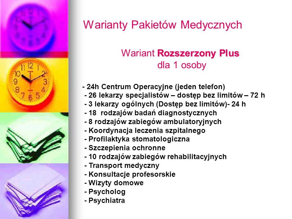 Warianty Pakietów Medycznych Rozszerzony Plus Wariant Rozszerzony Plus dla 1 osoby - 24h Centrum Operacyjne (jeden telefon) - 26 lekarzy specjalistów