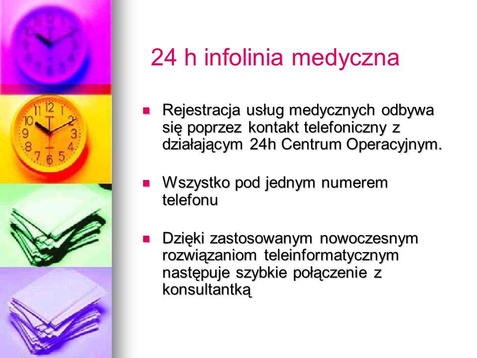 24 h infolinia medyczna Rejestracja usług medycznych odbywa się poprzez kontakt telefoniczny z działającym 24h Centrum Operacyjnym. Rejestracja usług