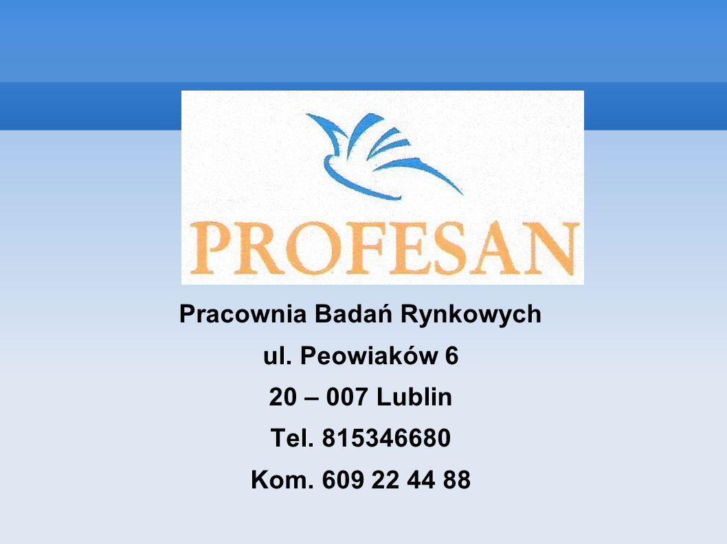 Pracownia Badań Rynkowych ul. Peowiaków 6 20 – 007 Lublin Tel. 815346680 Kom. 609 22 44 88