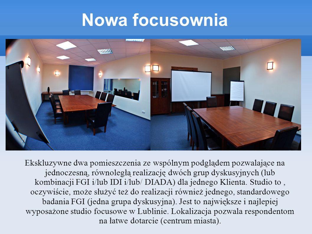 Nowa focusownia Ekskluzywne dwa pomieszczenia ze wspólnym podglądem pozwalające na jednoczesną, równoległą realizację dwóch grup dyskusyjnych (lub kom