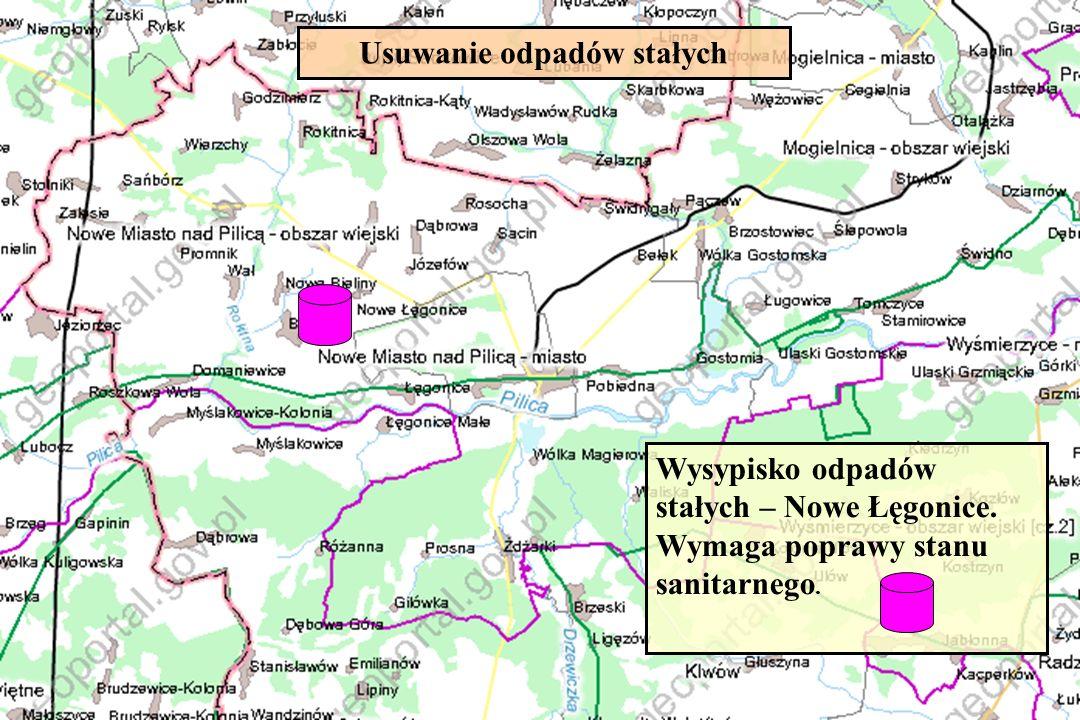 Usuwanie odpadów stałych Wysypisko odpadów stałych – Nowe Łęgonice. Wymaga poprawy stanu sanitarnego.