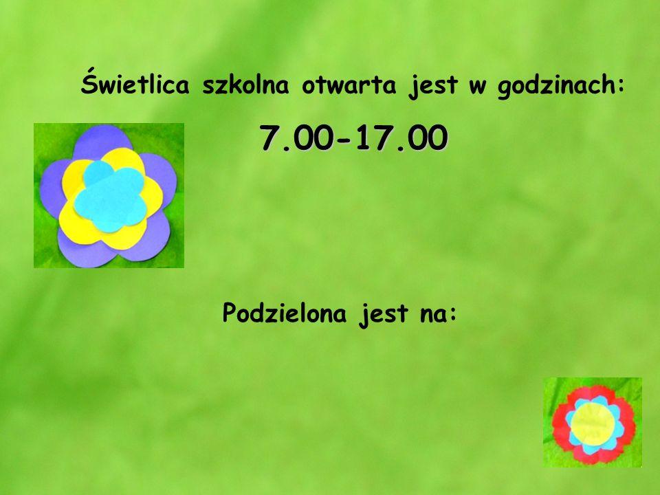 7.00-17.00 Świetlica szkolna otwarta jest w godzinach: 7.00-17.00 Podzielona jest na: