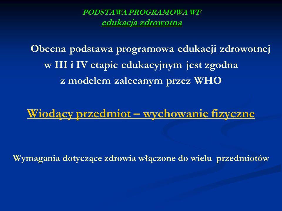 PODSTAWA PROGRAMOWA WF edukacja zdrowotna Obecna podstawa programowa edukacji zdrowotnej w III i IV etapie edukacyjnym jest zgodna z modelem zalecanym