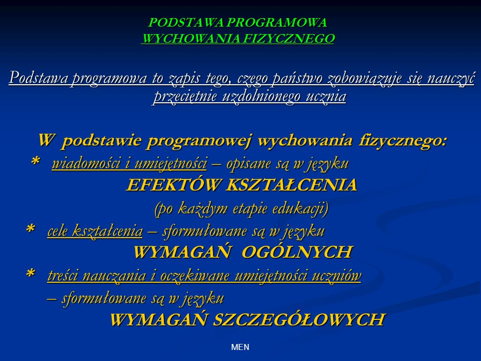 PODSTAWA PROGRAMOWA WF PODSTAWA PROGRAMOWA WF obszary edukacji w ramach systemu klasowo – lekcyjnego I ETAP II ETAP III ETAPIV ETAP 4 GODZ.