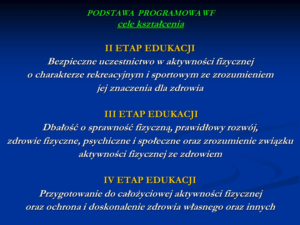 PODSTAWA PROGRAMOWA WF istota zmian zwiększenie wymiaru godzin zwiększenie wymiaru godzin częściowe odejście od zajęć prowadzonych w systemie klasowo – lekcyjnym dokonywanie przez ucznia wyborów form aktywności fizycznej wprowadzenie edukacji zdrowotnej swoboda nauczyciela w planowaniu i doborze treści kształcenia opracowanie przez szkołę oferty zajęć fakultatywnych