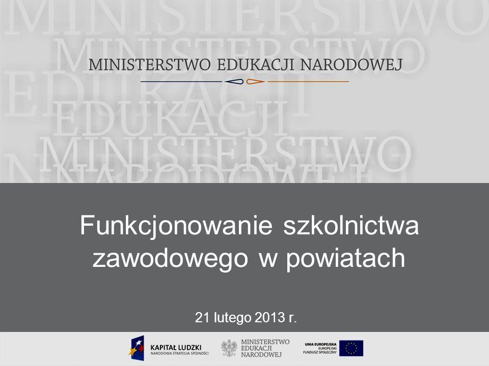 1 Funkcjonowanie szkolnictwa zawodowego w powiatach 21 lutego 2013 r.