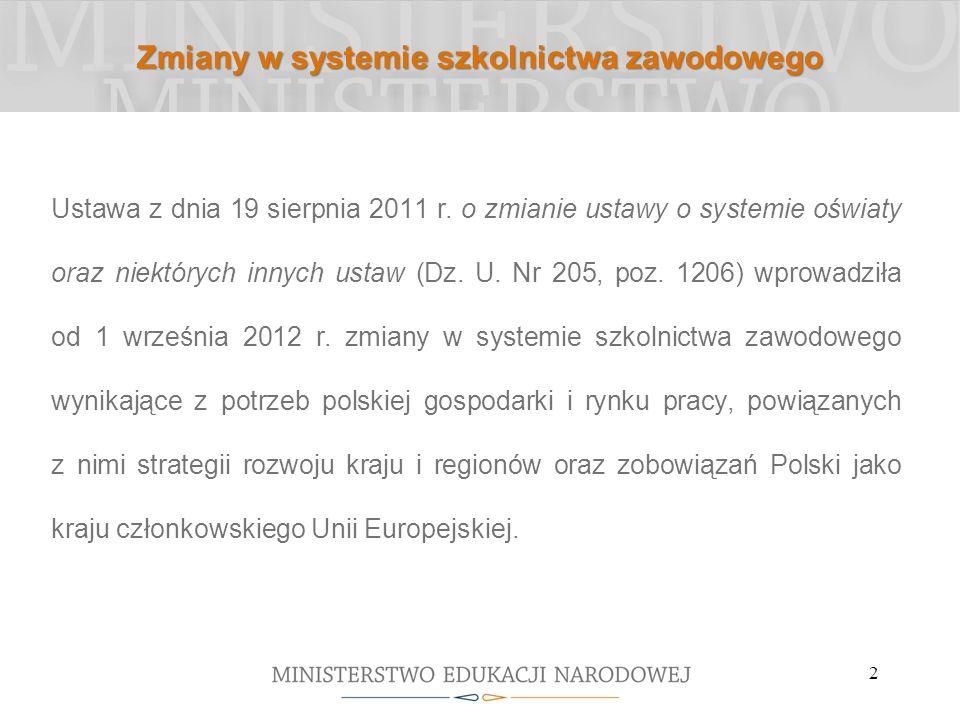 2 Zmiany w systemie szkolnictwa zawodowego Ustawa z dnia 19 sierpnia 2011 r. o zmianie ustawy o systemie oświaty oraz niektórych innych ustaw (Dz. U.