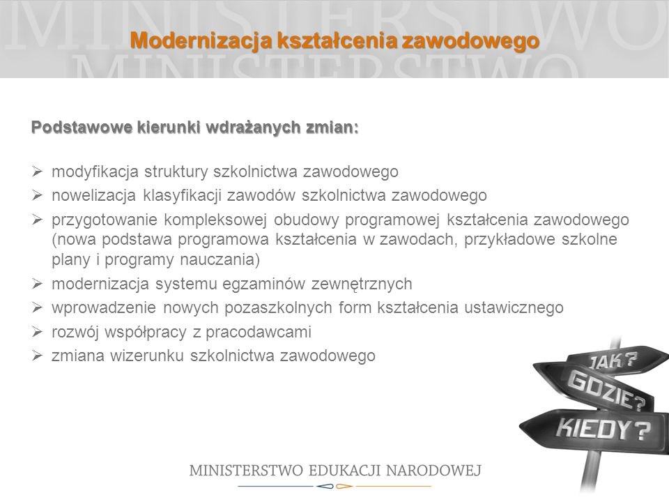 Modernizacja kształcenia zawodowego Podstawowe kierunki wdrażanych zmian: modyfikacja struktury szkolnictwa zawodowego nowelizacja klasyfikacji zawodó