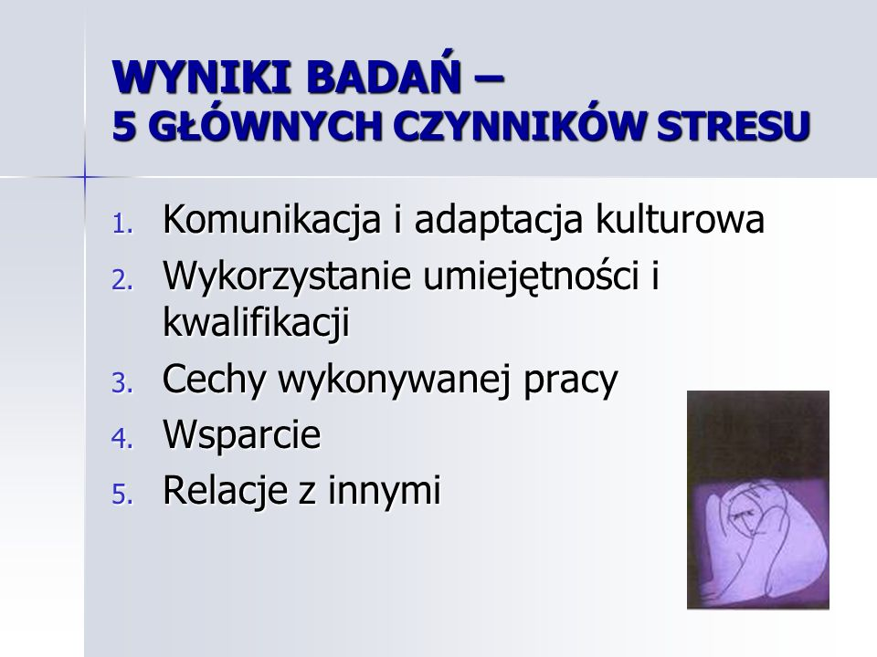 Dodatkowe czynniki i spostrzeżenia Dodatkowe czynniki i spostrzeżenia Czynniki finansowe Czynniki finansowe Poziom doświadczonych ostatnio symptomów stresu Poziom doświadczonych ostatnio symptomów stresu Sposoby relaksowania się Sposoby relaksowania się Najbardziej lubiane / nielubiane elementy pracy Najbardziej lubiane / nielubiane elementy pracy